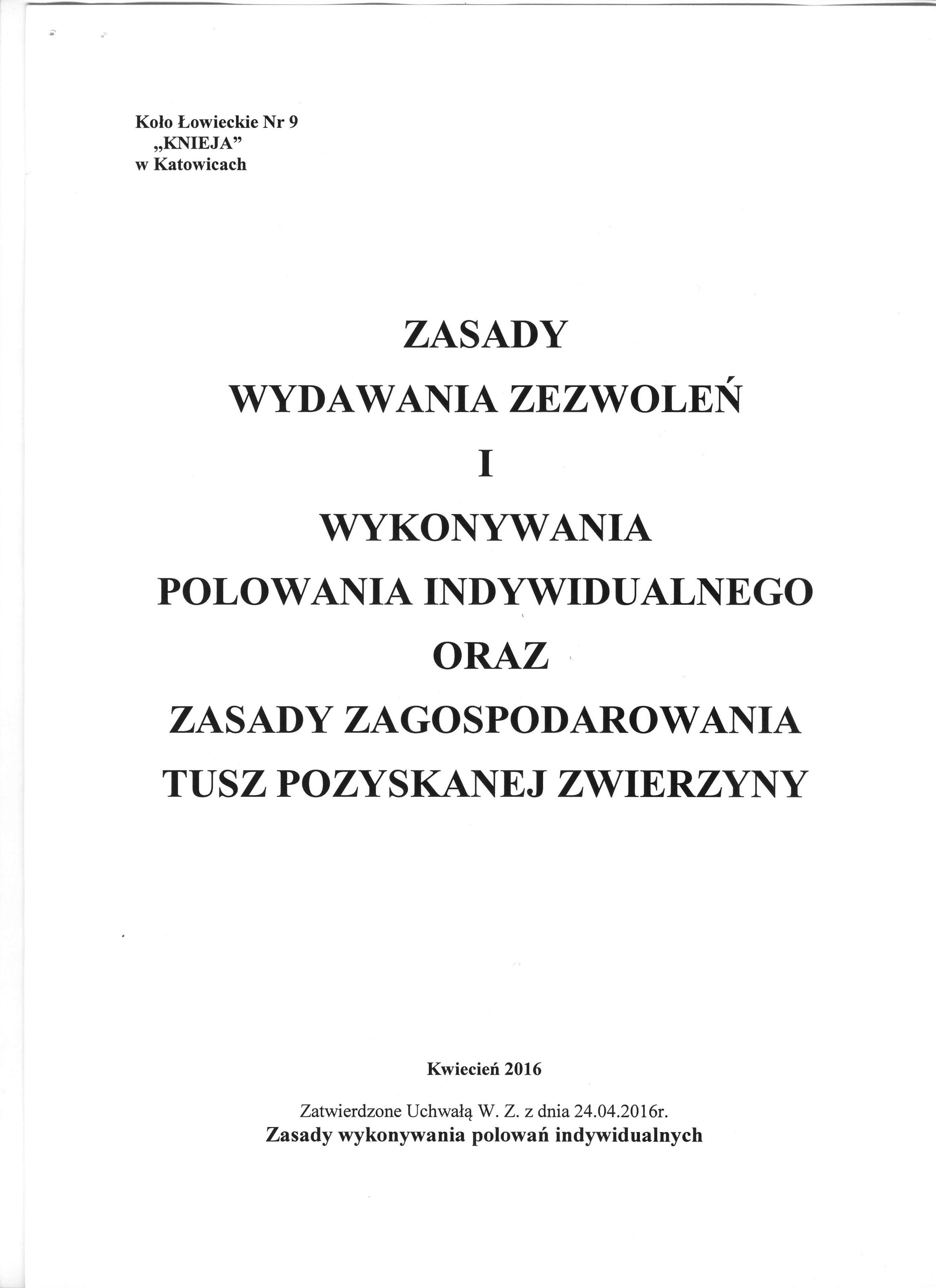 Zasady wykonywania polowań indywidualnych (1)