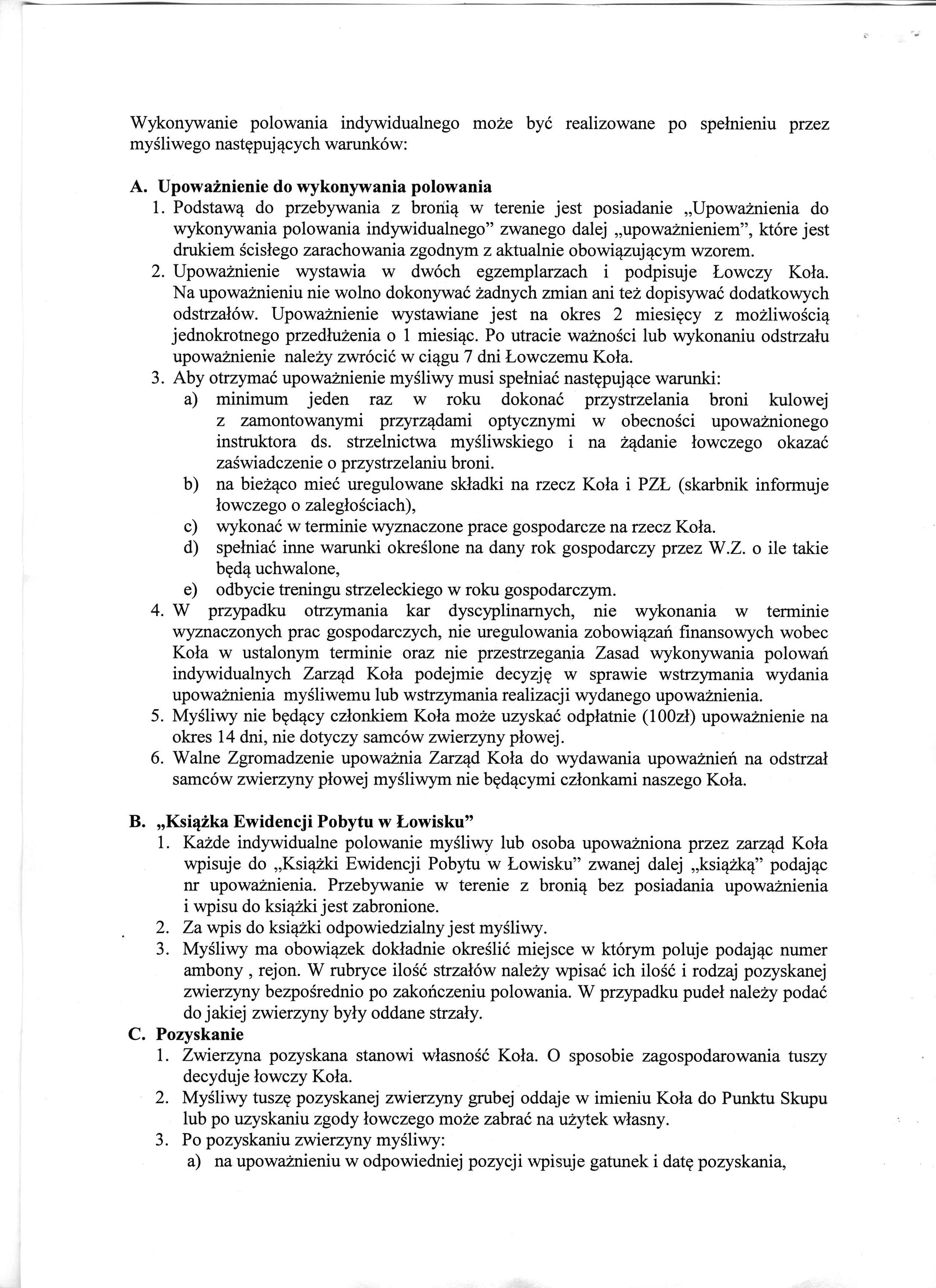 Zasady wykonywania polowań indywidualnych (2)